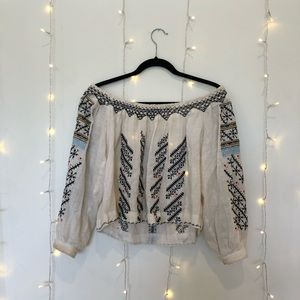 Free People Off-the-Shoulder Woven Blouse